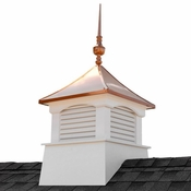 """Good Directions - 30"""" Square Coventry Vinyl Cupola with Victoria Copper Finial - 2130CV-742"""