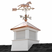 """Good Directions - 30"""" Square Manchester Vinyl Cupola with Horse Weathervane - 2130MV-1974P"""