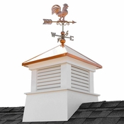 """Good Directions - 30"""" Square Manchester Vinyl Cupola with Rooster Weathervane - 2130MV-1975P"""