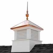"""Good Directions - 30"""" Square Manchester Vinyl Cupola with Victoria Copper Finial - 2130MV-742"""