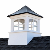 """Good Directions - 30"""" x 45"""" Windsor Vinyl Cupola with Black Aluminum Roof - 2130WVBLK"""