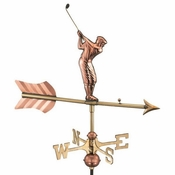 Good Directions - Golfer Garden Weathervane - Polished Copper w/Roof Mount - 816PR