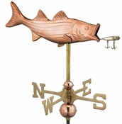 Good Directions - Bass with Lure Garden Weathervane - Polished Copper w/Roof Mount - 8847PR