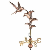 Good Directions - Hummingbird Garden Weathervane - Polished Copper w/Roof Mount - 8807PR