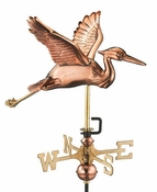 Good Directions - Blue Heron Garden Weathervane - Polished Copper w/Roof Mount - 8805PR