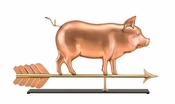Good Directions - Country Pig Pure Copper Weathervane Sculpture on Mantel Stand - 9550PM
