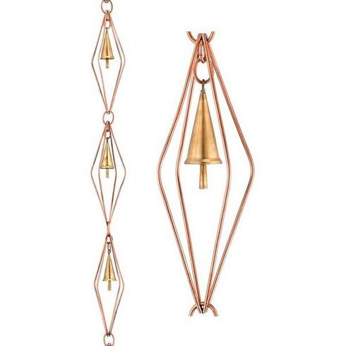 Good Directions - Diamond Pure Copper 8.5 ft. Rain Chain with Bells  - 469P-8