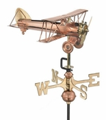 Good Directions - Biplane Garden Weathervane - Polished Copper w/Roof Mount - 8812PR