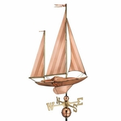 Good Directions - Estate Weathervane - Large Sailboat - Polished Copper - 9907P