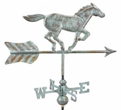 Good Directions - Horse Garden Weathervane - Blue Verde Copper w/Roof Mount - 801V1R