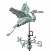 Good Directions - Blue Heron Garden Weathervane - Blue Verde Copper w/Roof Mount - 8805V1R