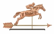 Good Directions - Jumping Horse & Rider Pure Copper Weathervane Sculpture on Mantel Stand - 1912PM