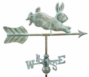 Good Directions - Rabbit Garden Weathervane - Blue Verde Copper w/Roof Mount - 809V1R