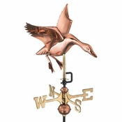 Good Directions - Landing Duck Garden Weathervane - Polished Copper w/Garden Pole - 804PG