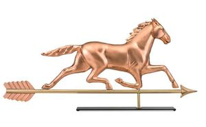 Good Directions - Large Horse Pure Copper Weathervane Sculpture on Mantel Stand - 958PM