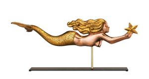 Good Directions-Mermaid Copper & Golden Leaf Table Top Sculpture-966GLM