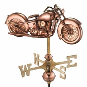 Good Directions - Motorcycle Garden Weathervane - Polished Copper w/Garden Pole - 8846PG