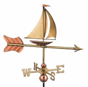 Good Directions - Sailboat Garden Weathervane - Polished Copper w/Garden Pole - 8803PG