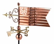 Good Directions - Standard Weathervane - American Flag - Polished Copper - 667P