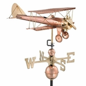 Good Directions - Standard Weathervane - Biplane - Polished Copper - 9521P