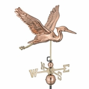 Good Directions - Standard Weathervane - Blue Heron - Polished Copper - 9606P