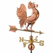 Good Directions - Standard Weathervane - Crowing Rooster - Polished Copper - 637P