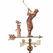 Good Directions - Standard Weathervane - Golfer - Polished Copper - 561P