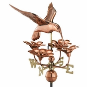 Good Directions - Standard Weathervane - Hummingbird w/ Flowers - Polished Copper - 913P