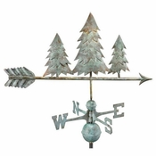 Good Directions - Standard Weathervane - Pine Trees - Blue Verde Copper - 625V1