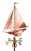 Good Directions - Standard Weathervane - Racing Sloop - Polished Copper - 909P