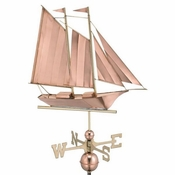 Good Directions - Standard Weathervane - Schooner - Polished Copper - 9601P