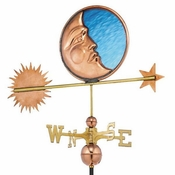 Good Directions - Standard Weathervane - Stained Glass Moon - Polished Copper - 678P