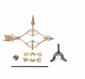 Good Directions - Victorian Arrow Garden Weathervane - Polished Copper w/Roof Mount - 8842PR