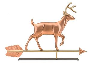 Good Directions - White Tail Buck Pure Copper Weathervane Sculpture on Mantel Stand - 968PM