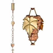 Good Directions - Wine Bottle w/ Grapes & Glasses Pure Copper 8.5 ft. Rain Chain - 484P-8