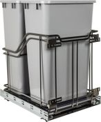 Hardware Resources - STORAGE WITH STYLE (TM) Double Trashcan Black Nickle with 50 qt Gray Cans - Black Nickel - SWS-MBMD50GBN