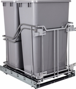 Hardware Resources - STORAGE WITH STYLE (TM) Double Trashcan Polished Chrome with 50 qt Gray Cans - Polished Chrome - SWS-MBMD50GPC