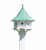 Lazy Hill Farm Carousel Bird House with Blue Verde Copper Roof - 43406