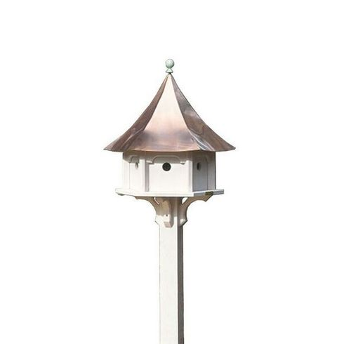 Lazy Hill Farm Carousel Bird House with Polished Copper Roof - 42406