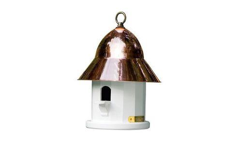 Lazy Hill Farm Copper Top Bird House with Polished Copper Roof - 42430