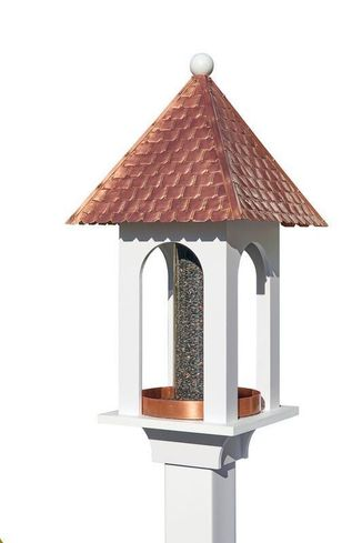 Lazy Hill Farm Extra-Large Seed Capacity Bird Feeder with Pure Copper Roof, Composite PVC Base - 42305