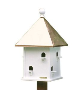 Lazy Hill Farm Square Bird House with Polished Copper Roof - 42412