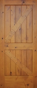Pacific Entries - Barn Series Door - Knotty Alder 2 Panel V-Groove - Pre-Finished - GA3242LS