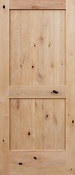Pacific Entries - Barn Series Door - Knotty Alder 2 Panel V-Groove - Unfinished - UA3242
