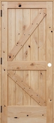 Pacific Entries - Barn Series Door - Knotty Alder 2 Panel V-Groove - Unfinished - UA3242LS