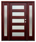 Pacific Entries  -  Contemporary Series Door  -  5 Lite Privacy Glass  - M55 5 Lite - With Sidelites
