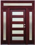 Pacific Entries  -  Contemporary Series Door  -  5 Lite Privacy Glass  - Transom