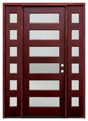 Pacific Entries  -  Contemporary Series Door  -  6 Lite Privacy Glass  - M55 6 Lite - With Sidelites