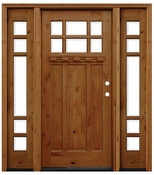 Pacific Entries  -  Craftsman Series Door  -  9 Lite Bevel Glass  - A36 - With Sidelites