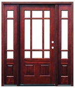 Pacific Entries  -  Craftsman Series Door  -  9 Lite Bevel Glass  - M39 - With Sidelites